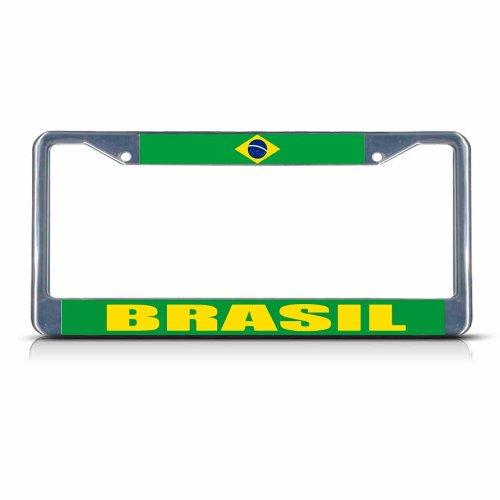 (BRASIL BRAZIL FLAG Chrome Metal Heavy Duty License Plate Frame Tag Border)