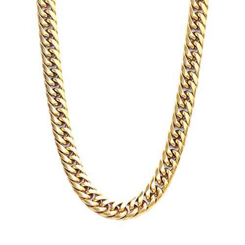 Link Bling - Authentic Bling Miami Cuban Link Necklace Chain,12mm, 28 Inches, Hip Hop Fashion, Heavy Thick 14K Gold Plated Over Stainless Steel With Thick Box Clasp For Men (28.0)