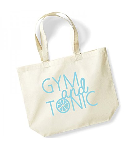 Gym and Tonic - Large Canvas Fun Slogan Tote Bag Natural/Blue