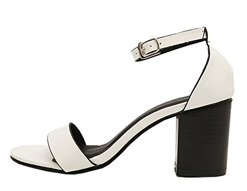 Harshiono Womens Fashion Sexy Mid Heel Ankle Strap Open Toe Stilettos Platform Sandals Pumps White F9cqr