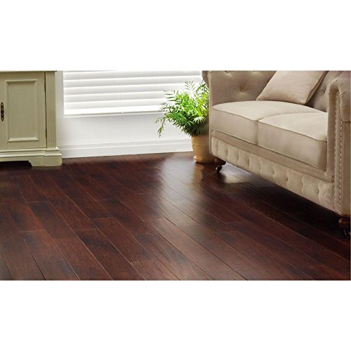 Handscraped Strand Woven Dark Mahogany 3/8 in. x 5-1/8 in. x 36 in. Click Engineered Bamboo Flooring (25.625 sq.ft/case) ()