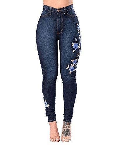 ZhuiKunA Femmes Jeans Slim Skinny Denim Pantalons Rtro Fleur Brod Leggings Bleu Fonc