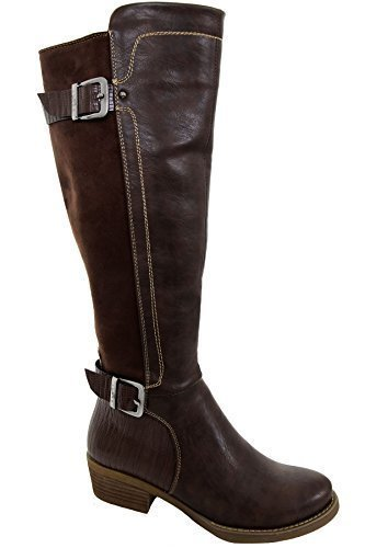 Zipper Suede High Boots Low Heel Leather Ladies Buckle ® Faux BOUTIQUE Contrast Calf Brown FANTASIA WFxZfYvwqn