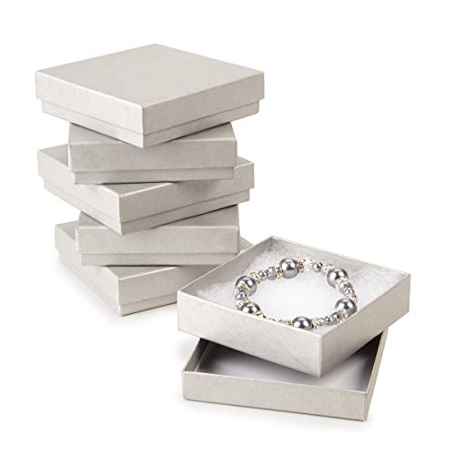 Darice Cotton Filled Silver Jewelry Boxes, 6 Piece