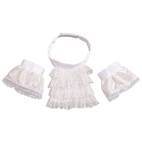 BLESSUME White Colonial Lace Jabot Cuffs Set Costume Accessory (Little White Jabot Cuffs Set)