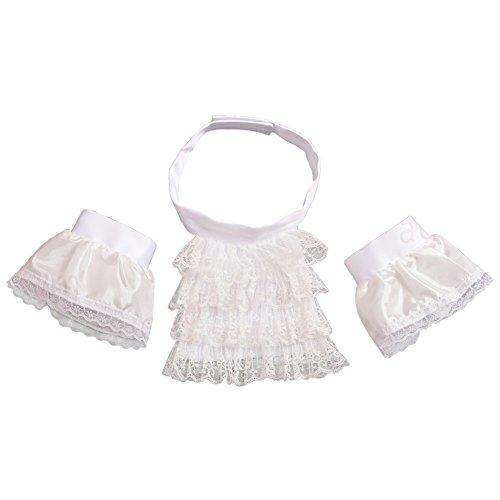 BLESSUME White Colonial Lace Jabot Cuffs Set Costume Accessory (Little White Jabot Cuffs -