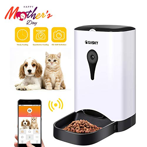 Gasky Automatic Cat Pet Smart Feeder – App Control Dog Food Dispenser with WiFi, Camera, Video, 4.5L Large Capacity,Distribution Alarms, Portion Control, Voice Recording,Timer Programmable
