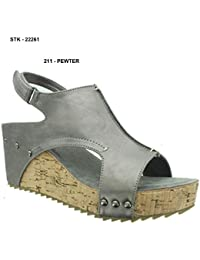 Giselle-1 Womens Slingback Open Toe Platform Wedge Sandals
