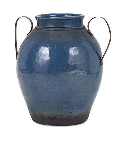 IMAX 13610 Harrisburg Large Vase with Metal Handle, Blue (Large Urns And Vases)