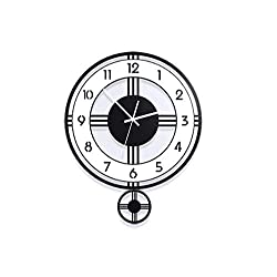 YZ-YUAN Clock Wall Clock Living Room Decoration Home Nordic Creative Simple Fashion Quartz Below Swing Clock,30×36Cm