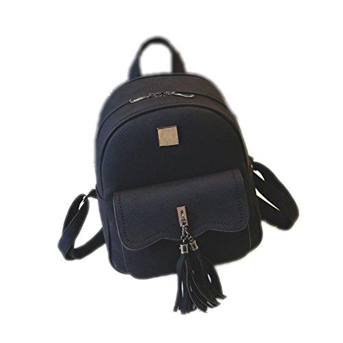 Tassel Women Backpacks Fashion PU Leather Lady Backpacks Fashion Girls Backpack Cute School Bag 1588 Black W26H32D12 CM (Backpack Sierra Leather)