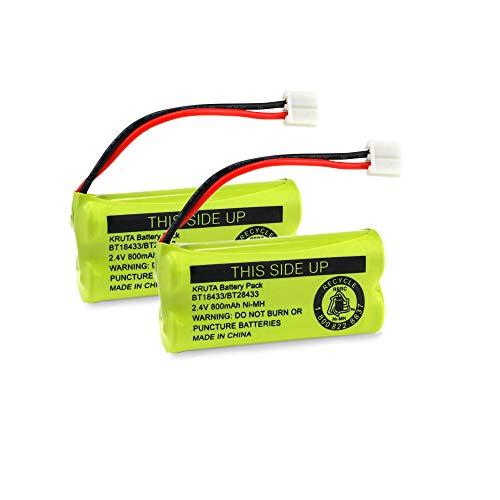 Kruta BT18433/BT28433 BT184342 BT284342 BT1011 BT-1011 800mAh 2.4V Replacement cordless phone Battery Compatible with CS6209 CS6219 CS6229 DS6151 89-1330-01-00 CPH-515D (2 Pack) ()