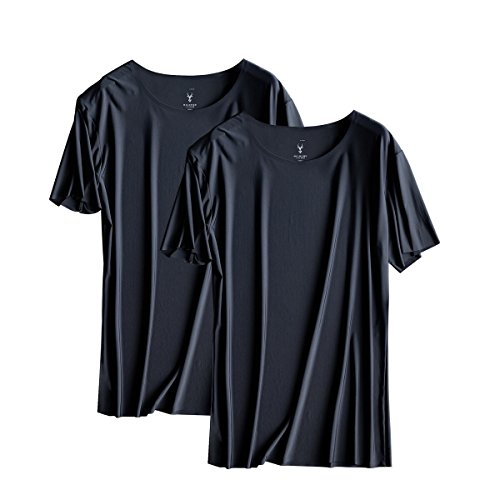 F.P Mens Mesh Super Breathable Comfort Soft Ice Silk Quick-drying Round Neck T Shirts (Pack of 2) (XXL, Black+Black)