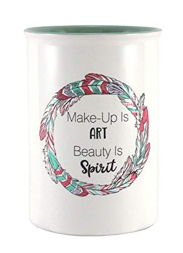 Swissco Ceramic Organizer Cup for Makeup, Desktop, Vanity Storage – Makeup is Art Print