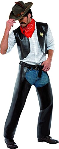 Ymca Halloween Costumes (Smiffy's Men's Village People Cowboy Costume, Vest, Chaps, Sheriff Badge &)