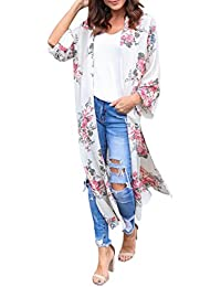 Clearance, Hot Summer Womens Chiffon Floral Print Beachwear Kimono Bikini Cover Up Boho Cardigan Dress