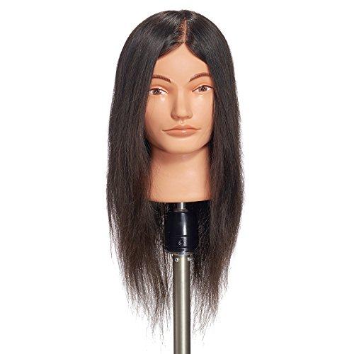 "Hairginkgo 20-22"" 100% Human Hair Cosmetology Mannequin Manikin Training Head Doll Head With Free Clamp (92019D0214)"