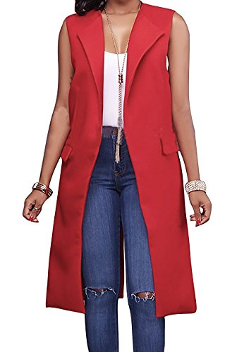 - Hestenve Women's Solid Lapel Long Suit Waistcoat Vest Trench Coat Sheath Cardigan Jacket Red Large