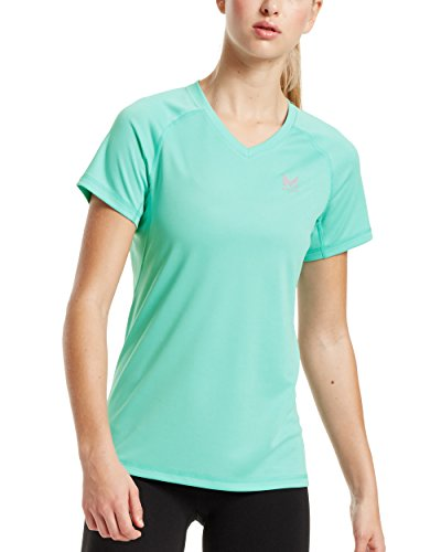 (Mission Women's VaporActive Alpha Short Sleeve V-Neck T-Shirt, Pool Blue,)
