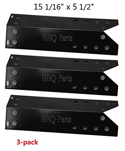 Hongso PPF781 (3-pack) Porcelain Steel Heat Plate, Heat Shield, Heat Tent, Burner Cover, Vaporizor Bar, and Flavorizer Bar Replacement for Kenmore, Nexgrill, Sunbeam, Lowes Model Grills (15 1/16