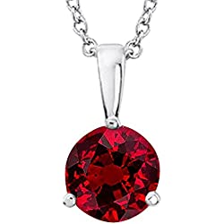 "1/2 - 5 Carat Round Ruby 3 Prong Pendant Necklace (AAA Quality) W/ 16"" Gold Chain"