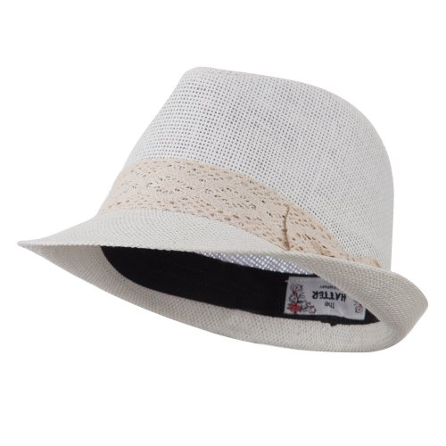 - Lace Band Paper Straw Fedora - White OSFM