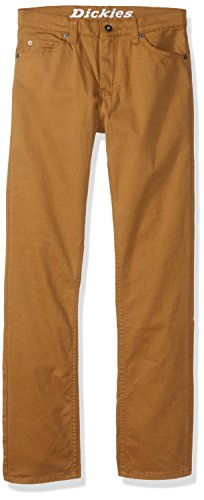 Dickies Big Boys' Flex Twill Pant-Slim Taper Fit, Rinsed Brown Duck, 8