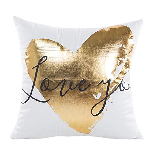 Sunhusing Bronzing Gold Foil Printing Pillow Case Sofa Waist Throw Cushion Cover -