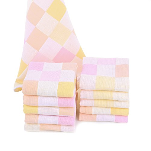 JISEN Baby Newborn Cute Pink Square Muslin Cotton Baby Small Towels,Baby Washcloths , Baby Towel Wipes ,Premium Reusable Wipes,Extra Soft For Sensitive Skin, Baby Diaper,Baby Shower Gifts,10 Pack