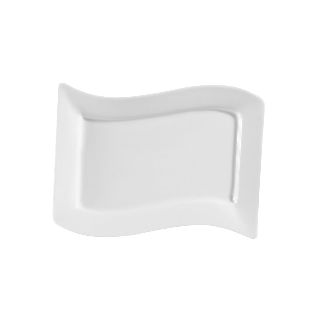CAC China MIA-34 Miami 9-Inch by 6-1/4-Inch Bone White Porcelain Rectangular Platter, Box of 24