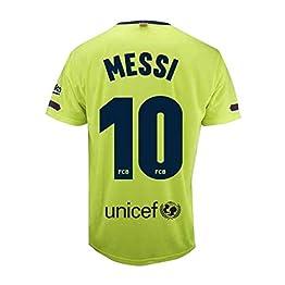Maillot 2e équipe FC.Barcelona 2018-2019 - Réplique Officielle Autorisé - Crête 10 Messi - Adulte Taille L - Mesure Poitrine 57 -Longueur Totale 74 -Manche L 21 cm.