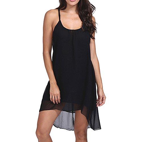 Women's Summer Spaghetti Strap Chiffon Sundress Sleeveless Beach Slip Dress Swing Dresses (S, Black 2)