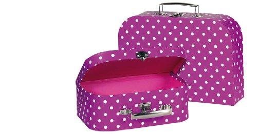 Goki 60106 - Puppenzubehör - Koffer, lila mit weißen Punkten