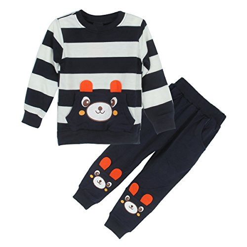 Toddler Baby Boys Girls Cartoon Bear Sweatshirt Tops and Pants Tracksuit Outfits (4T-5T, Navy Blue) -