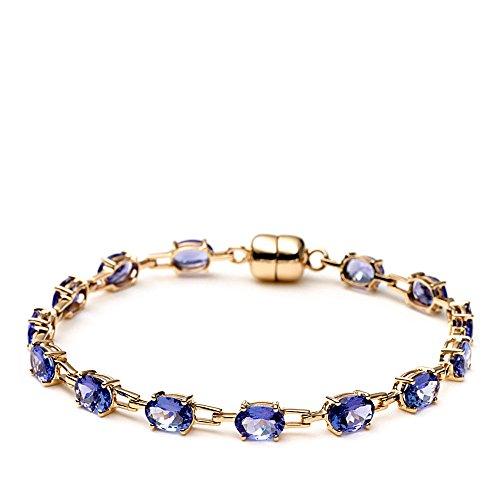 Jaipuri. Instyle-Bracelet Femme-Or 750(18K)-La Tanzanite et de qualité AAA, ovales -