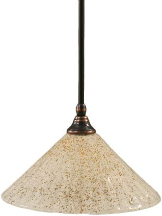 Toltec Lighting 23-BC-702 Stem Mini-Pendant Light Black Copper Finish with Gold Ice Glass, 12-Inch