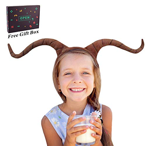 M&G House Ram Horns Headband - Animal Headband Goat Headband for Christmas Halloween Festival Cosplay Headbands