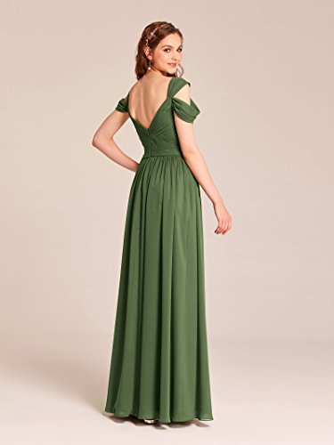 Chiffon Dress Alicepub Women V for Neck Long Bridesmaid Formal Champagne Evening Party Dress Prom EqnwPqCxr