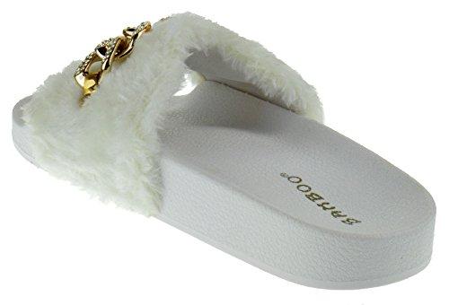Flatter Di Bambù 16 S Delle Donne Strass Catena Faux Fur Slide Su Sandali Di Pelliccia Bianca