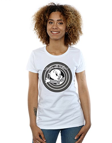 Looney Tunes Women's Porky Pig That's All Folks T-Shirt Small White