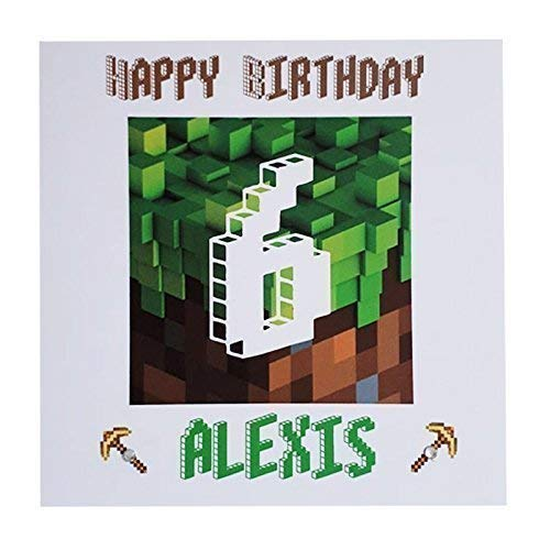 Personalised Minecraft Happy Birthday Greeting Card Age Name Amazoncouk Handmade