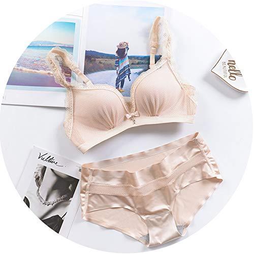 Bra Set Wire Free Net Yarn Sexy Lingerie Suit Push Up Bra Panties Set Women Underwear,Skin,I stifled You