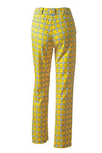 Femmes Casaul Jaunes Chaîne Pantalons À Longs Ceinturée Carreaux Nimpansa Pour Large Pantalon De qgx6wqf