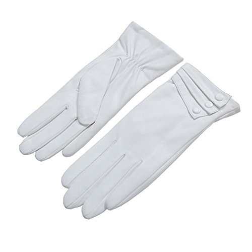 Nappaglo Nappa Leather Gloves Warm Lining Winter Button Decoration Imported Leather Lambskin Gloves for Women (M, White)