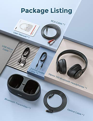 Mpow T20 Wireless TV Headphones with Bluetooth 5.0 Transmitter, Charging Dock, Stereo Sound Headset, 25H Playtime, Easy Charge, Optical, RCA, AXU, USB Port for Wide Compatibility, Senior, Plug n Play