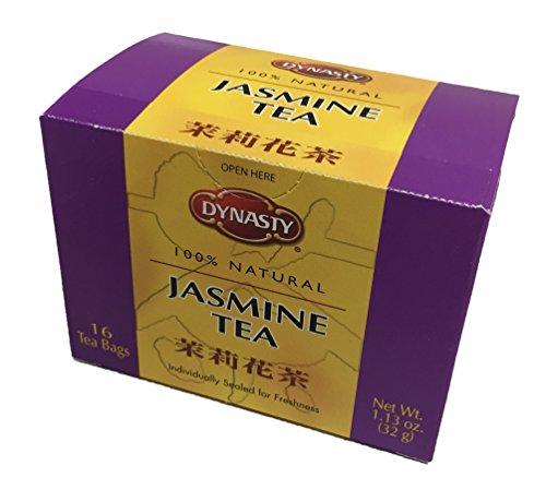 Dynasty 100% Natural Tea 16 Individual Tea Bags Per Pack (Jasmine, 6 Pack)