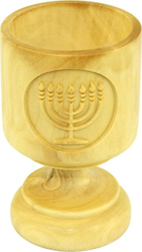 Olive wood wine cup carved with Menorah - (3 inches tall). Great details and work on each.