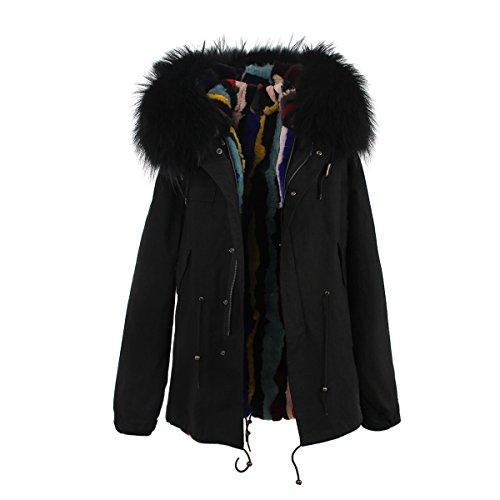 S ROMZA dtachable racoon Noir chaud Multicolore de Manteau fourrure Femme Fourrure Collier amp; lapin Longue doublure parka capuche de ABxq1Ard