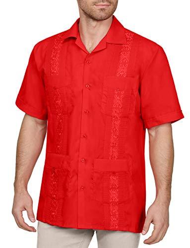 (NE PEOPLE Men's Short Sleeve Cuban Guayabera Button Down Shirts Top XS-4XL)