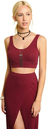 Trend Director Women's Two Piece Burgundy Cropped Tank Top and Slit Maxi Skirt Set (Large)